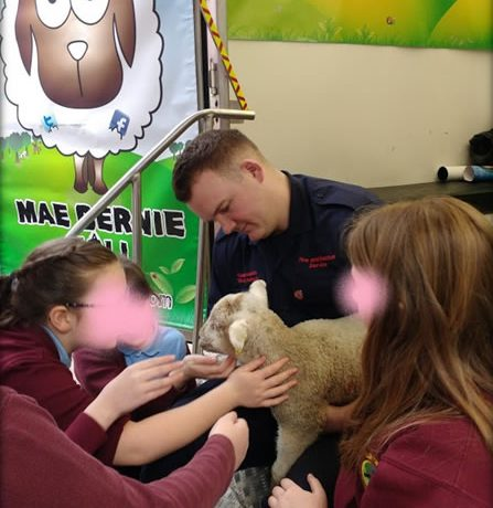 south wales fire service meeting lamb and children