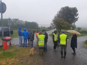 Commoners protesting on Llantrisant common, after a horse was knocked down. dangerous driving speeding