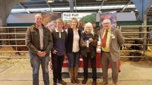 Ian Rickman with the winners from Red Poll Cattle Society royal welsh spring festival